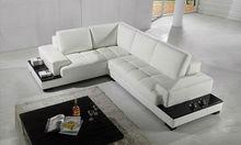 Pictures Wood Sofa Furniture Living Room Furniture Grain Leather Modern Corner Sofa L Shape Sectional Sofa 8001-1