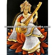 "Indian Goddess Saraswati Handmade Oil Painting on Velvet Fabric Canvas Tapestry Hanging 28"" X 22"""