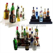 24-inch 3 Tier Liquor Bottle Shelf Transparent Black Acrylic For Bar Displays