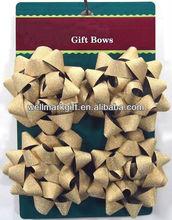 "HOT SALE! 4"" Gold Glitter PP Ribbon Star Bow,Glitter Poly Gift Bow, Glitter Christmas Ribbon Bow"