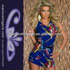 ML17872 Fashion African Style Short Summer Batik Design Patterned Sleeveless Dress