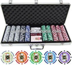 Deluxe Aluminum poker chip set with 500pcs OEM poker chips