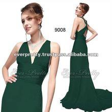 09008GR Graceful Green V-neck Prom Dresses
