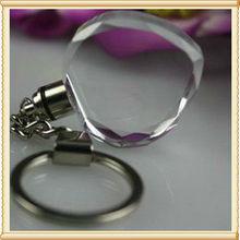 With LED Light Cheap Crystal Heart Blank Keyring