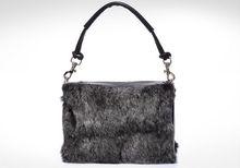 genuine cow leather black rabbit hair handbags women fashion handbagsreal rabbit hair handbag