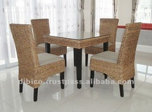 5 Pcs of Dining Room Wood and Natural Rattan/ 2012 Kitchen Furniture New Designs / 2012 Modern Style Dining Table Set