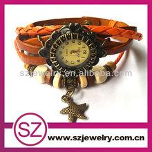 Starfish orange leather bracelet valentine quartz watches