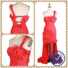 2014 Red Wedding Bridesmaid Short Front Long Back Dress