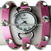 Rhinestone Dial Punk Rivet Leather Watch,Ladies' Fashion Leather Winding Gift Watch