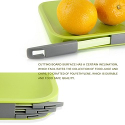 Green Chopping Board with a storage for Knife and Forks