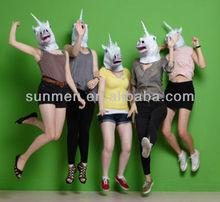 White Magical Unicorn Head Mask Costume Creepy Adult Unicorn Mask