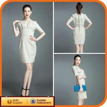 Brand Name New Design White Fashion Cotton Office Woman Party Dress