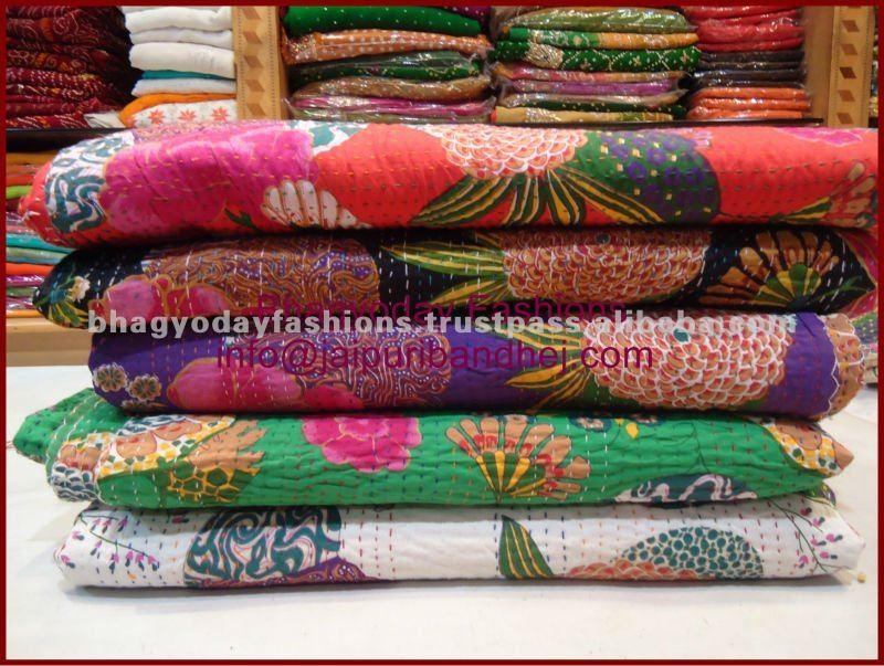 Kantha mano acolchado colchas / Kantha Rallis / de la mano cosido colchas estampado de flores tropicales Kantha cubierta del edredón