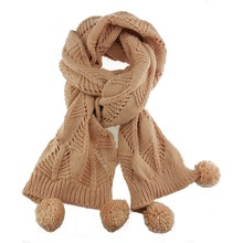 winter fashion knitted scarf with beads