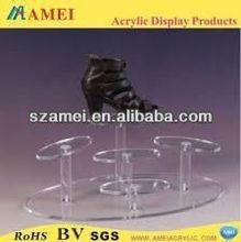 custom acrylic black walnut wooden shoe rack/POP acrylic black walnut wooden shoe rack