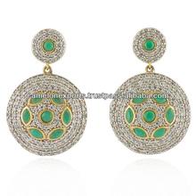 Indian manufacturers green gemstone fashion earrings jewelry. crystal fashion zircon studs earrings. Brass metal.