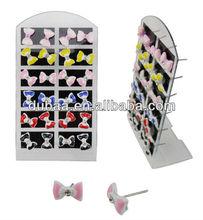 Wholesale Fashion Jewelry Wholesale Plastic Bow Ear Stud Earrings w Zircon,DubaaFashion.com