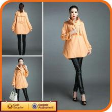 Brand Name New Orange Cape Long Fashion Woman Winter Coats 100% Wool