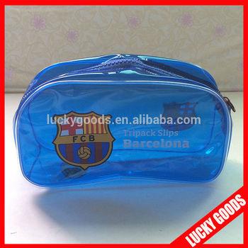 custom pvc blue bag with zip lock