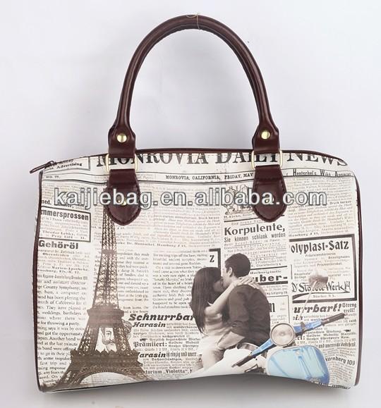 Pattern custom antique oem pu leather luggage travel bag