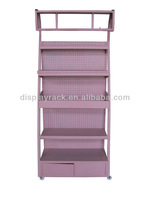 New invention 2014 hanging display rack, perfume stand with cabinet, pretty pink cosmetic shelf