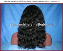 "16"" Indian Remy Virgin Wavy/Curly U-Part Wig (Left Part)"
