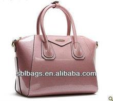 Hot selling shinning PVC handbags, colorful PVC ladies bag, trapeze Bag