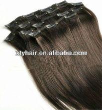 Alibaba express promotion! #2 Darkest Brown, Brazilian clip in hair extension