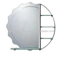 round corners wavy edge round mirror with chromed shelves and glass shelves