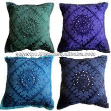 10pcs Mirror Work Embroidery Indian Sari Throw Pillow Toss Cushion Covers Wholesale lot
