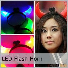 Animal Bull Horns Halloween light up devil horn headband hair clasp flash light for Night Party