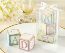 """""""New Baby on the Block"""" Ceramic Baby Blocks Salt & Pepper Shakers for wedding favors and gifts"""