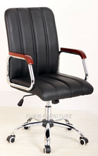 executive chair make of wooden handrail and nylon casters