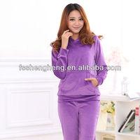 Wholesale velvet sport wear warm purple outdoor wear maternity suit AK041