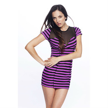 Long sheer dress shirt top with purple stripes