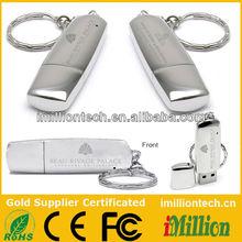 High end Custom logo metal usb with keychain 8gb 2gb 4gb 8gb 16gb 32gb for five star hotel promotional gift