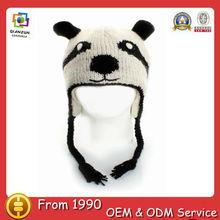 100% Animal Wool Pilot Winter Knit hat cap Panda Trapper Trooper