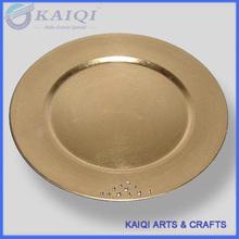 2014 hot sale cheap gold plastic charger plates wedding wholesale