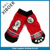 2015 Xiboer red lovely dog pattern knitting dog socks with Non-slip sole and three sections longer pet socks