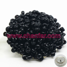 Black seed beads snap buttons charms for leather bracelet jewelry