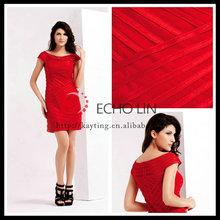 Simple design short sleeve knee length cocktail dresses red ladies short evening cocktail dresses
