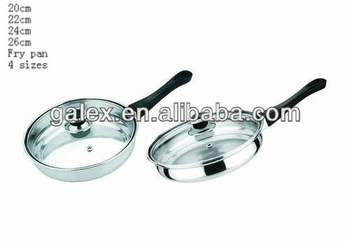 Stainless steel fry pan with lid induction bottom