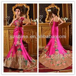 YWD11016 Fancy one shoulder mermaid red christmas wedding dresses 2014