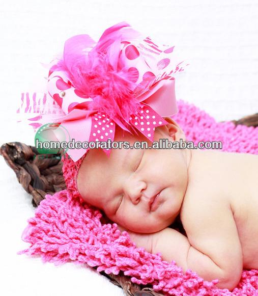 pembe kalp bandı yeni bebek tığ saç bandı muhteşem tüy ve şerit yay puantiyeli