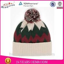 Hengxing Brand Custom Design Girl'sLeather Pacth Knit Beanie Children Cap