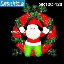 [2012 New] 3D sparkling sisal christmas wreath /garland light + snowman Decoration (Outdoor MOQ: 200PCS , GS/CE/UL)