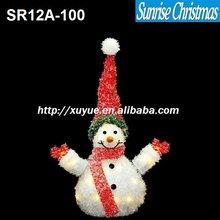 "25""LED LIGHTED CRYSTAL TINSEL & SISAL SNOWMAN CHRISTMAS YARD ART DECORATION with LED light (outdoor MOQ: 200PCS)"