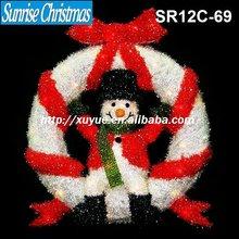 [2012 New] 3D sparkling sisal christmas Wreath light +snowman christmas decoration (Outdoor MOQ: 200PCS, GS/CE/UL)