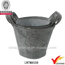 s/3 bucket rust shabby chic antique animal design garden metal planter