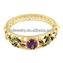 Wholesale Enamel Zirconia Flower Latest Design Girls Gold Bangles